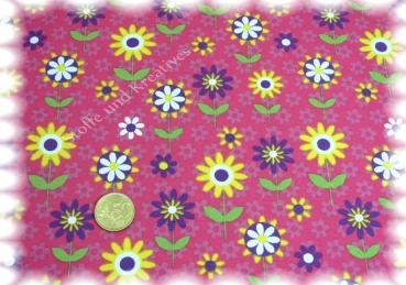 Summer Flowers Stretch-Jersey fuchsia gelb 50 cm