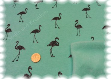 Alpenfleece Flamingo Glitzer mint Sweatshirt mit Fleece