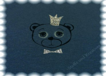 Alpenfleece Glitzerbär blue Sweatshirt with Fleece bear   Rest 28 cm reduced!!