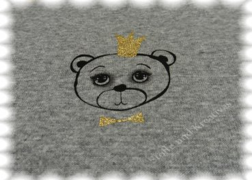 Alpenfleece Glitzerbär grey melange Sweatshirt with Fleece sparkling bear