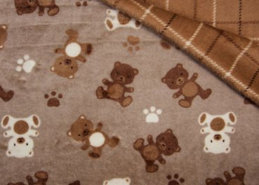 Bären Kuschelnicky brown Flanell Fleece plush bears and checks 50 cm