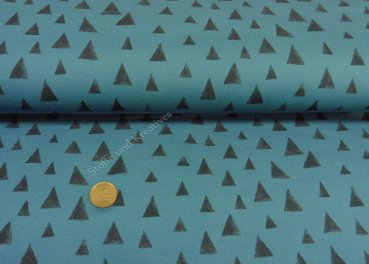 Beary Sweat Sweatshirt fabric by Hilco triangle petrol