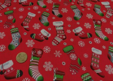 Christmas Socks red Christmas fabric 50 cm
