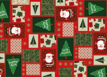 Christmas Wishes Christmas fabric cotton red