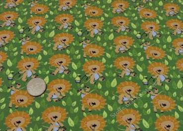 Djungle Lion Hilco green Jersey Fabric for kids by Birgit Boley   Rest 20 cm reduced!!