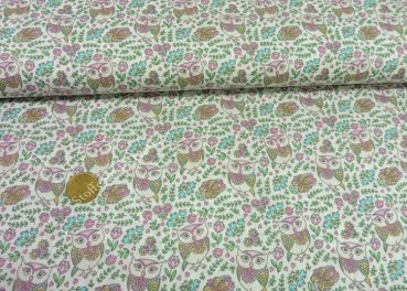 Eule Rosalie fabric with small owls poplin cotton ecru 25 cm