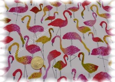 Fenicotteros weiß türkis Baumwolle Popeline Flamingos Hilco 50 cm