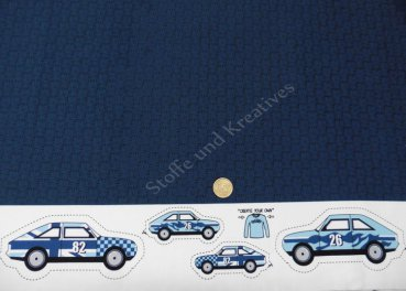 Flag pattern Hilco dunkelblau Autos als Applikation Sweat Kinderstoff