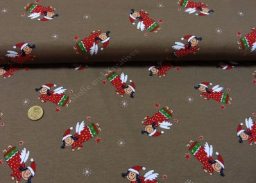 Flying Angels brown christmas fabric Xmas Jersey   Rest 22 cm reduced!!