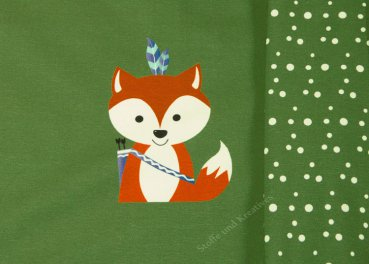 Forest Friends Boho Fuchs Panel by GroWidesign Hilco grün Baumwoll-Jersey Kinderstoff