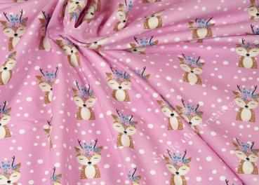 Forest Friends Boho Reh by GroWidesign Hilco pink Baumwoll-Jersey Kinderstoff