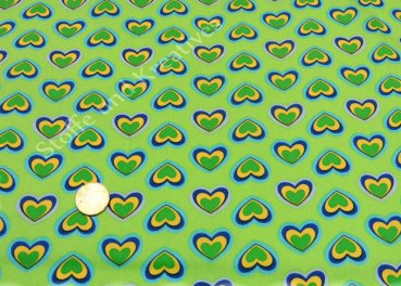 Green Hearts, apple green cotton poplin with flowers Stenzo      Rest 20 cm reduced!!