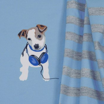Bello Panel Stretch-Jersey hellblau Motivstoff Hund Kinderstoff Hilco