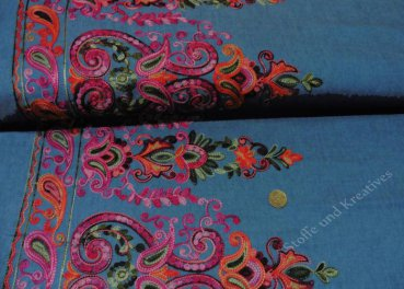 Jeans Stickerei Paisley Bordüre cotton denim blue pink embroidery   Rest 23 cm reduced!!