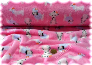 Lovely Dogs pink Kuschelnicky Kinderstoff Fleece Plüsch Flanell Fleece 25 cm
