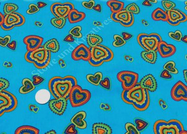 More Hearts, petrol cotton poplin with hearts   Rest 20 cm reduced!!