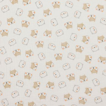 Musselin Baby Animals ecru Double Gauze fabric for kids   Rest 30 cm reduced!!