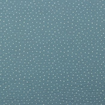 Musselin Mini Dots blue Double Gauze with dots fabric for kids   Rest 36 cm reduced!!