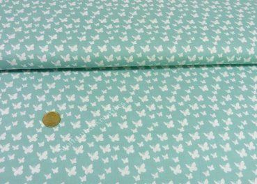 Papillon fabric with small butterflies poplin cotton mint green 25 cm