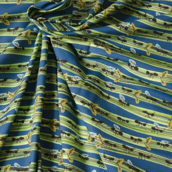 Safari blue Jersey Hilco ants fabric for kids