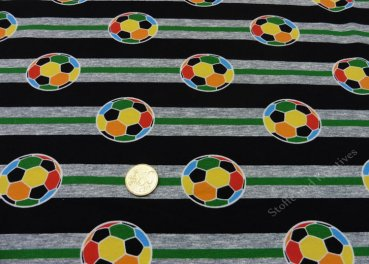 Soccer Game Stripes Hilco black fabric for kids cotton Elastic-Jersey 25 cm