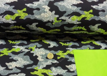 Softshell fabric Camouflage black water resistant Outdoor   Rest 20 cm reduced!!