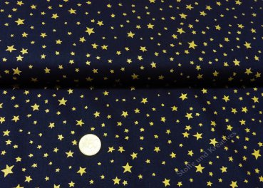 Sternenhimmel klein Christmas dark blue fabric cotton golden stars 50 cm