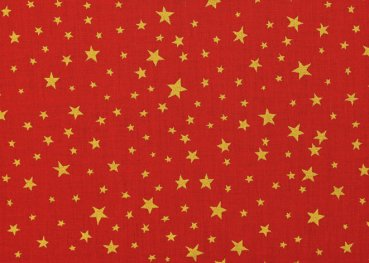 Sternenhimmel klein Christmas red fabric cotton golden stars 50 cm