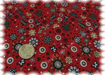 Winterwald Weihnachtsstoff rot Baumwolle Weihnachten Deko nähen 50 cm