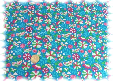 Blutter Bloom cotton turquoise by Jolijou