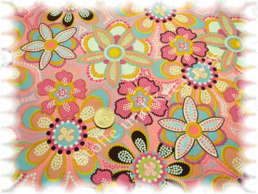 Christine Popeline türkis Baumwolle Blumen und Ornamente 50 cm
