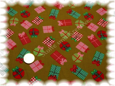 Little Presents Christmas fabric khaki  Rest 25 cm reduced!!