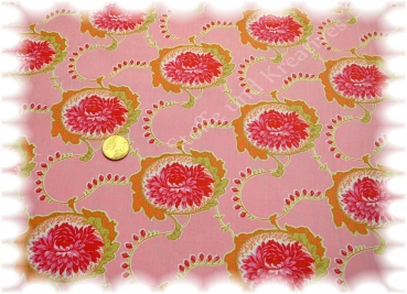 Pia cotton print flowers pink 50 cm