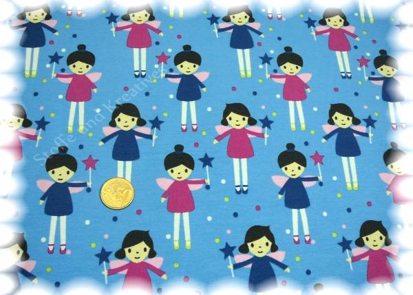 Fiona Fee blau Stretch-Jersey Blaubeerstern 50 cm Meterware  Kinderstoff