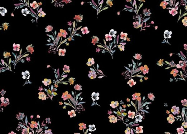 Annabell black cotton poplin small flowers