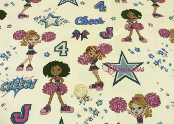 Cheer girls cream Hilco Jersey fabric for girls