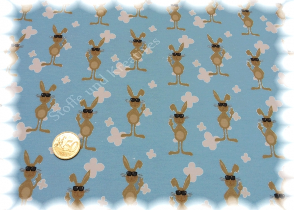 Cool Bunny blau Stretchjersey Hilco Stoffe und Kreatives