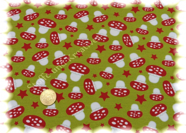 Mushrooms and Stars Kinderstoffe Jersey Stretchjersey Hilco Stoffe und Kreatives