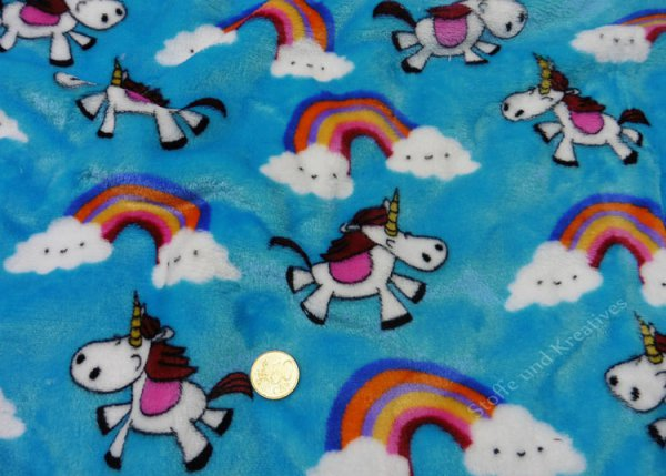 Plush Rainbow flanell fleece  fabric for girls unicorn and rainbow