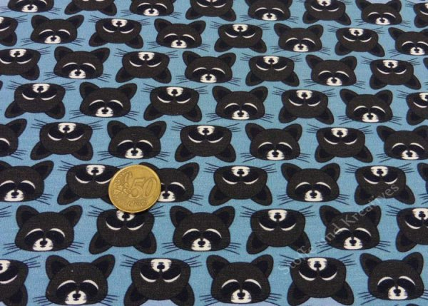 Raccoon Party Only Raccoons blue Sweatshirt fabric for kids by Hilco