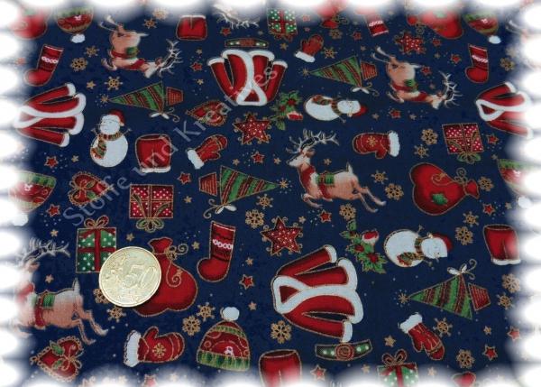 Santaclaus In Blau Weihnachtsstoff Bei Stoffe Und