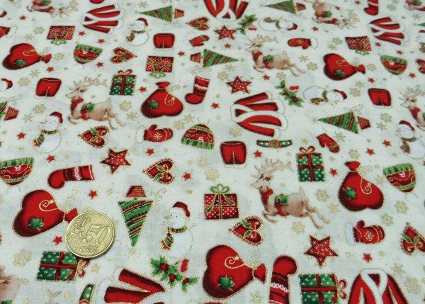 Santa Claus Weihnachtsstoff Ecru Baumwolle Weihnachten