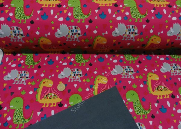 Softshell Dinos pink fabric for kids