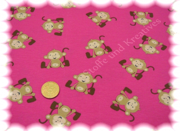 Monkeys Stretch Jersey dark pink 50 cm