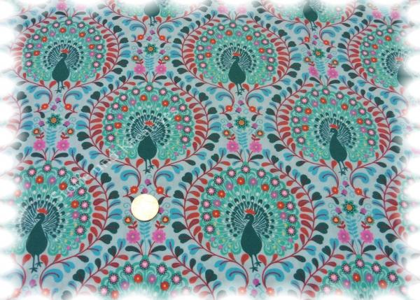 Summer Peacook hellblau Baumwolle Popeline Hilco 50 cm