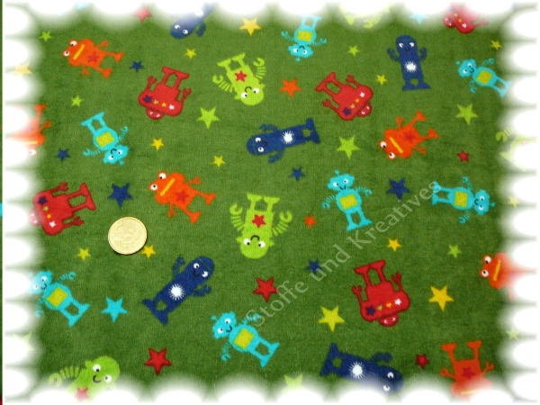 Robots  Nicky green Velour fabric for kids 25 cm