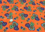 More Hearts orange Baumwolle Webware Stoff mit Herzen 25 cm