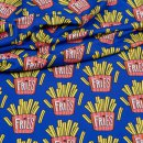 OMG Fries blau Baumwoll-Stretch-Jersey Hamburger Liebe Pommes