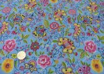 Zagala  Pop, cotton poplin print light blue Hilco fabric for kids with flowers